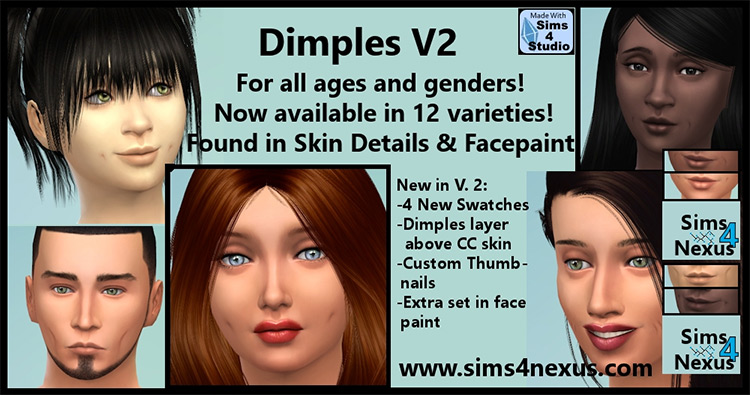 Custom Content Dimples Pack v2 - Sims 4
