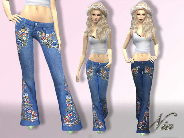Embroidered Flare Jeans for girls - Sims 4 CC