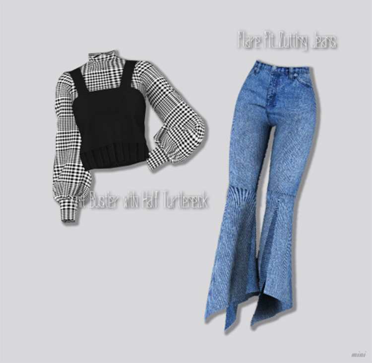 Knit Bustier with Half Turtleneck CC - Sims 4