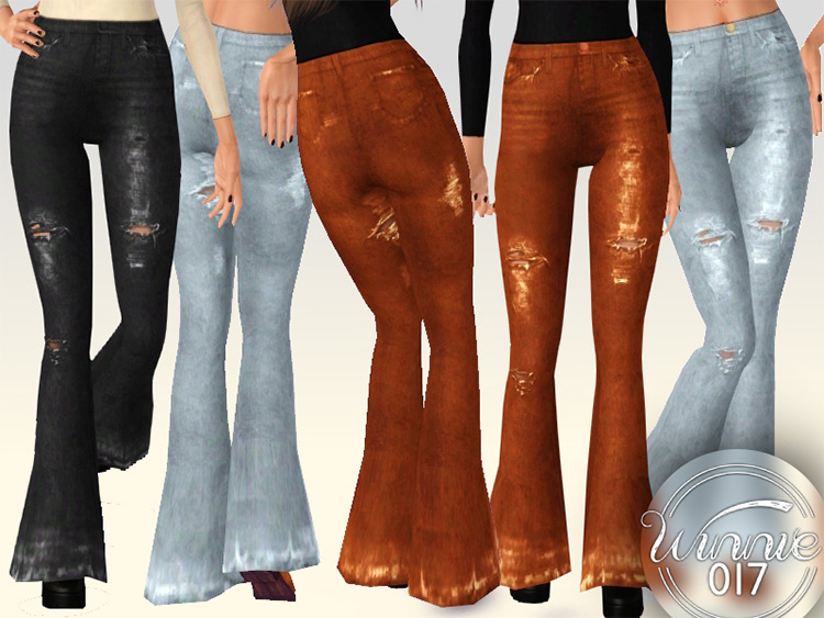 70-themed flare jeans TS4 CC
