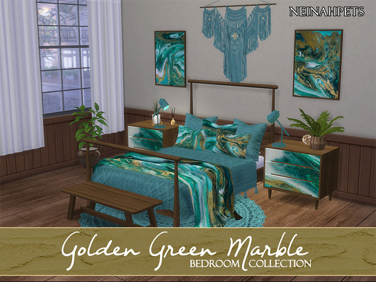 Golden Green Marbel Bedroom Set CC