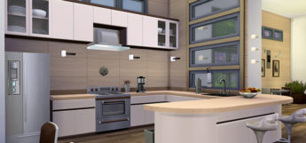 Bright kitchen interior screenshot from The Sims 4