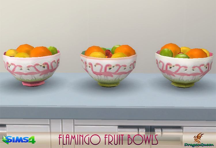 Flamingo Fruit Bowls CC for TS4