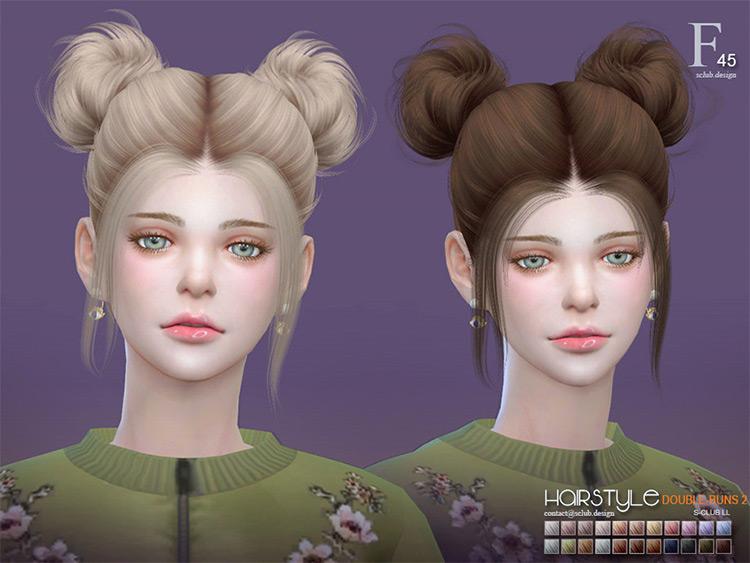 Double-Buns2 n45 CC Mod - Sims 4