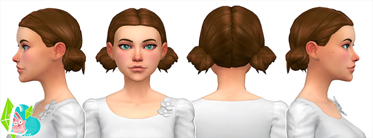 Low Double Buns Sims 4 CC