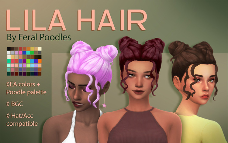 Lila Hair CC for Sims 4
