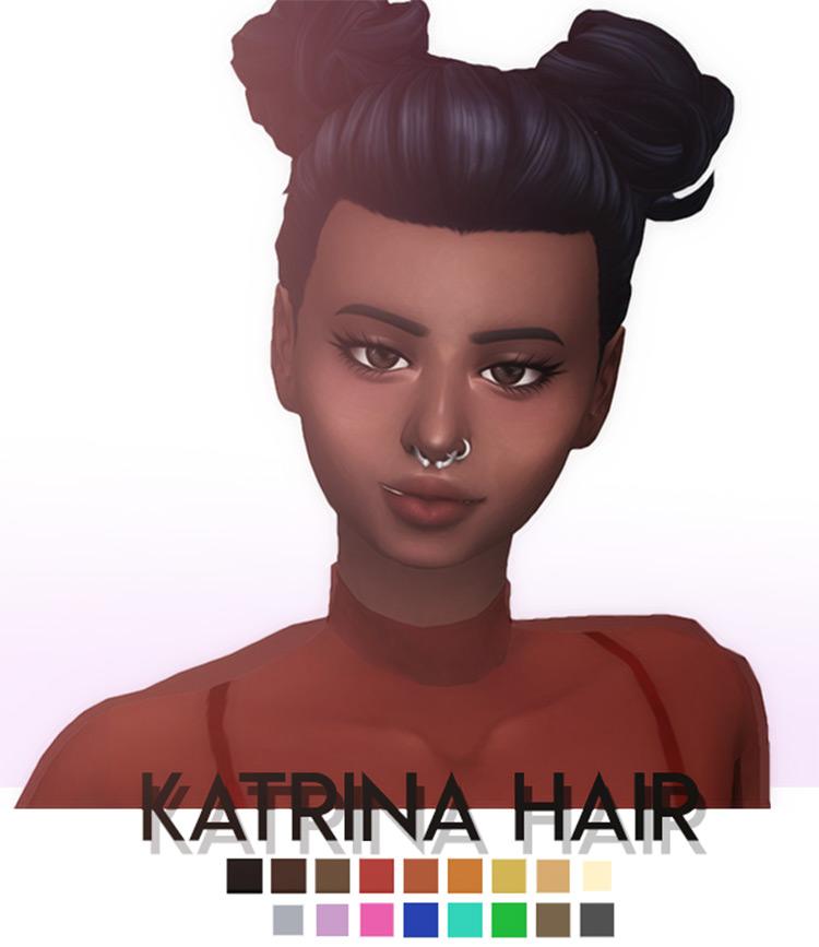 Katrina Hairdo Double Buns - Sims 4 CC