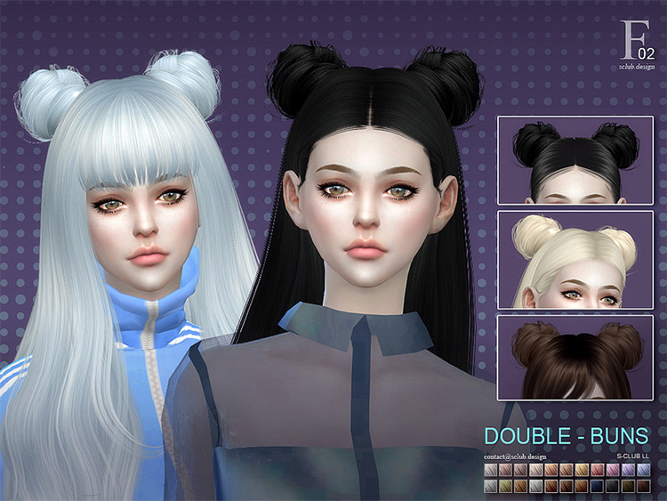 Double-Buns Hair Long - Sims 4 CC
