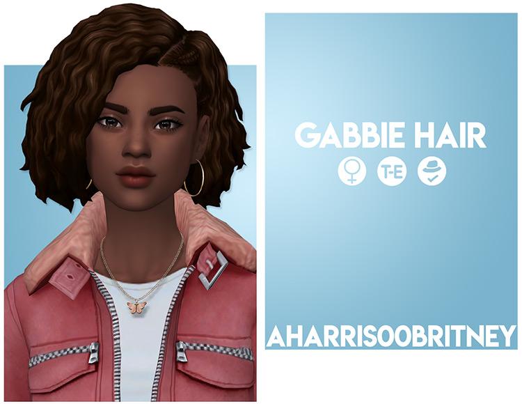 Gabbie Hair dark color short hairdo TS4 CC