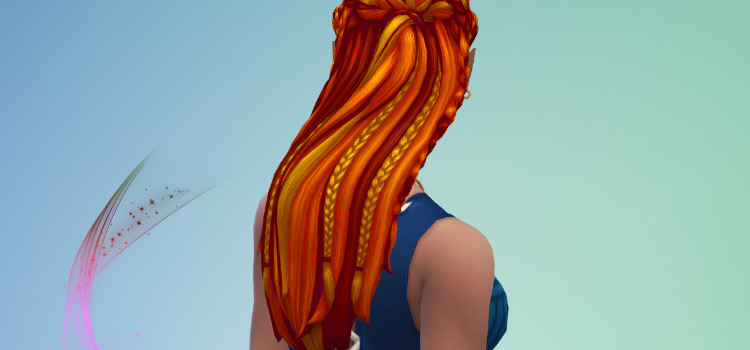 Sims 4 multicolored braided hairdo - CC preview