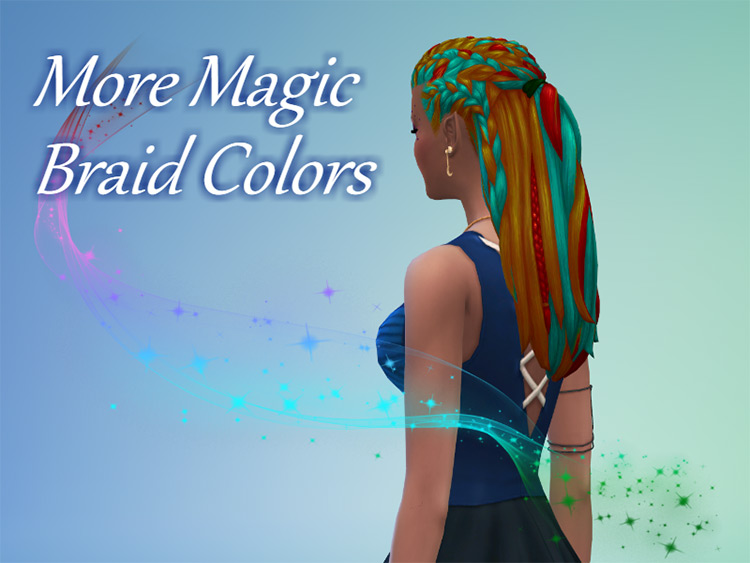 Colorful magic braided hairdo for TS4