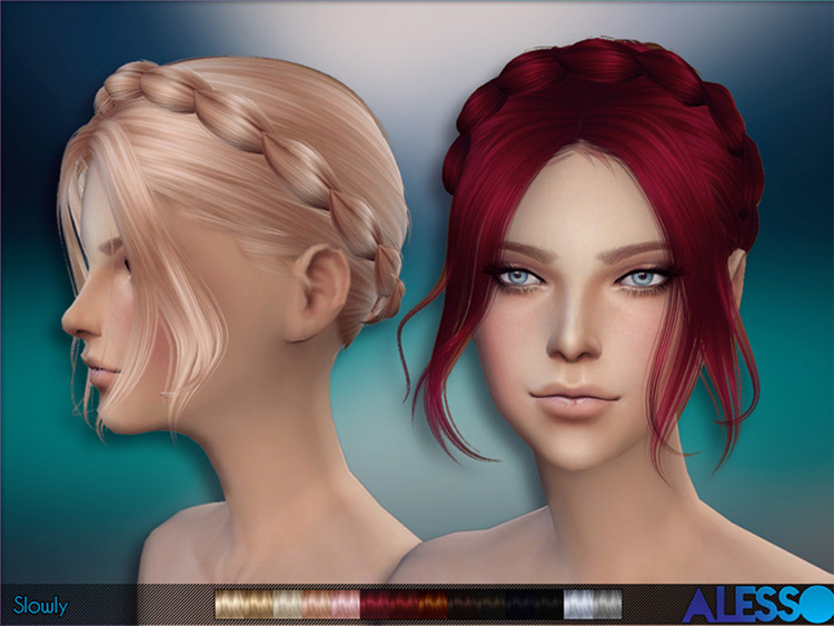 Cute short hairdo for girls with braid - TS4 CC