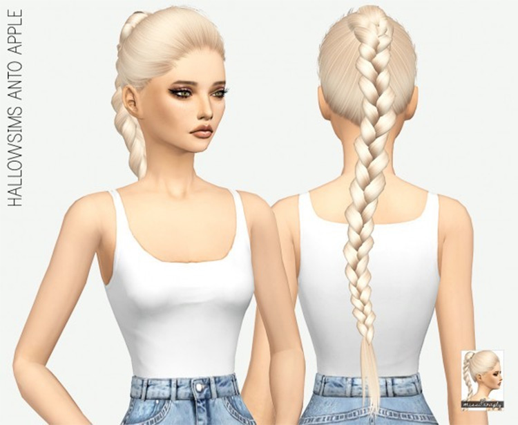 Long blonde braided ponytail hairdo - Sims 4 CC