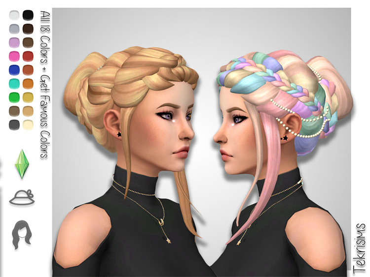 Braided bun updo style hair for Sims4