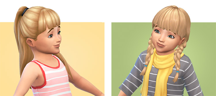 Toddler cute blonde hair with bangs - TS4 CC