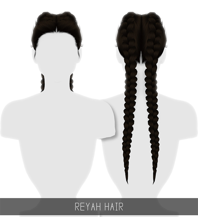 Long dark two braids hairdo - Sims 4 CC