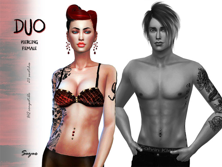 Man and Woman Belly Button Duo Ring - Sims 4 CC