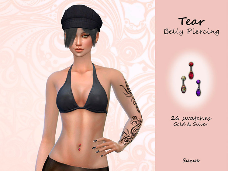 TS4 CC - Tear-shaped belly button ring