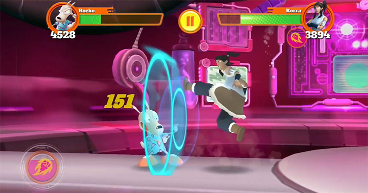 Rocko and Korra in Super Brawl Universe