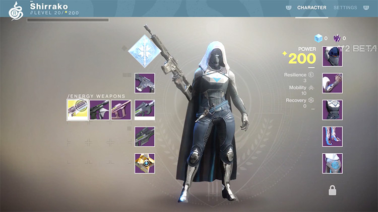 Destiny 2 character menu screenshot