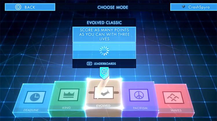 Geometry Wars 3: Dimensions menu screenshot