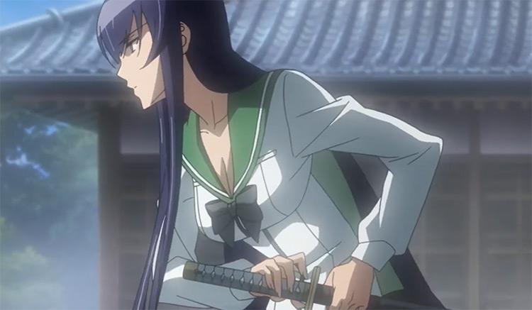 Anime girl drawing sword for battle Saeko Busujima
