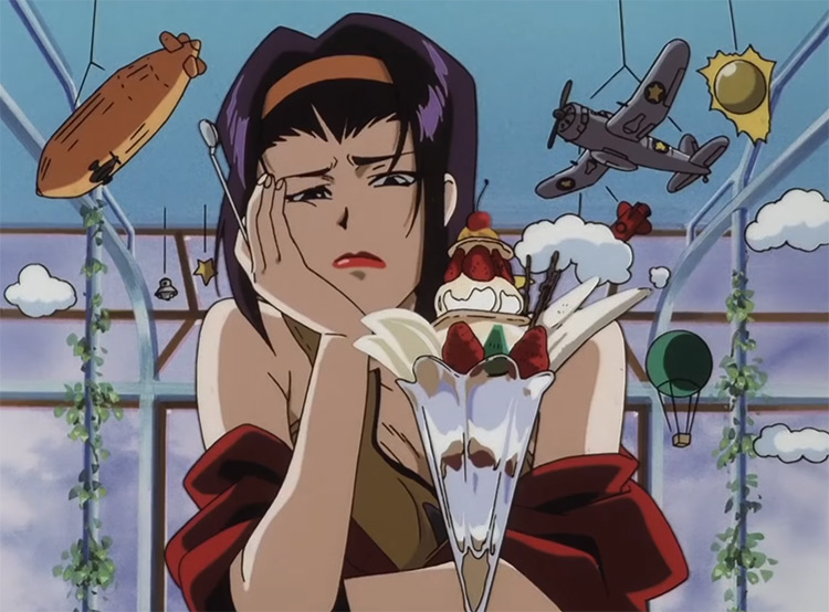 Anime girl eating parfait Faye Valentine