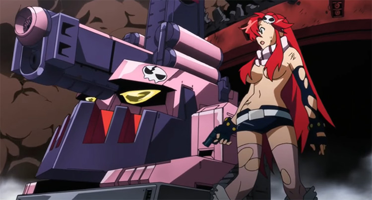 Red haired girl with a gun - Gurren Lagann Screenshot