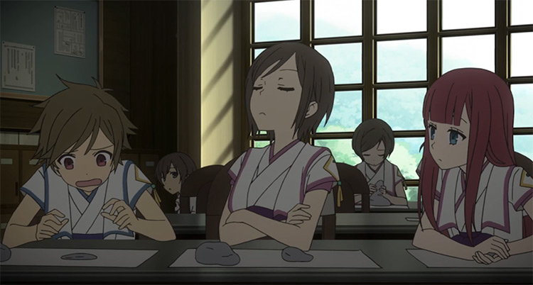 Anime characters in a classroom - From the New World