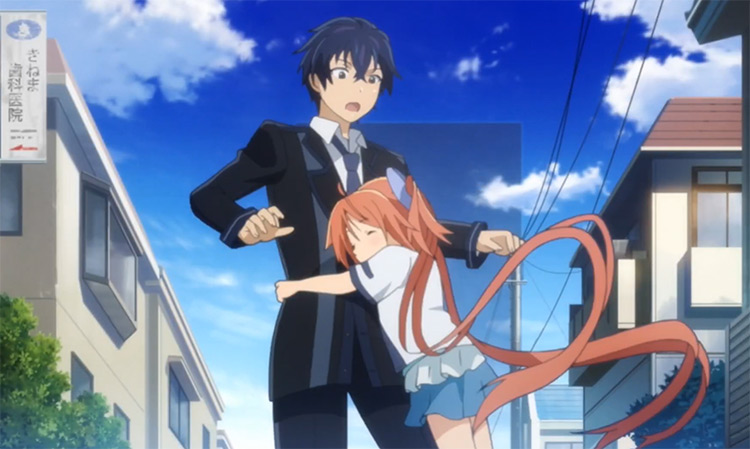 Little girl hugging a teenage boy - Anime Black Bullet