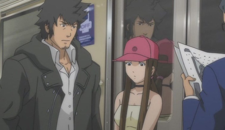Man and a girl in pink hat - Speed Grapher Anime