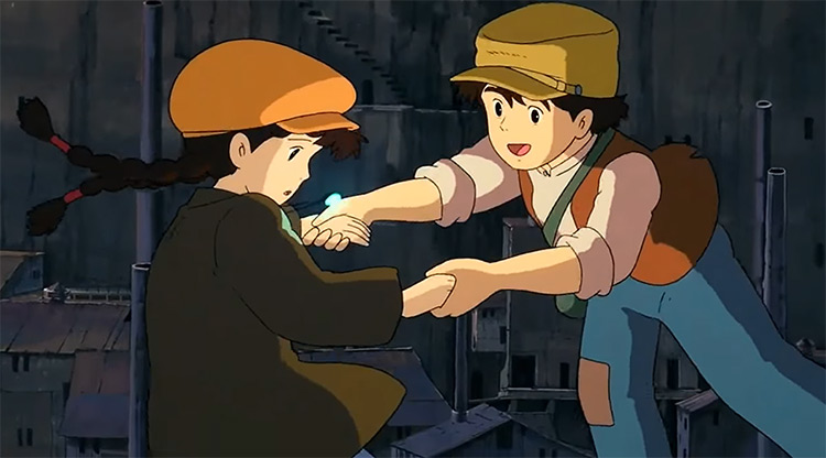 Boy and girl hold hands - Castle in the Sky Anime