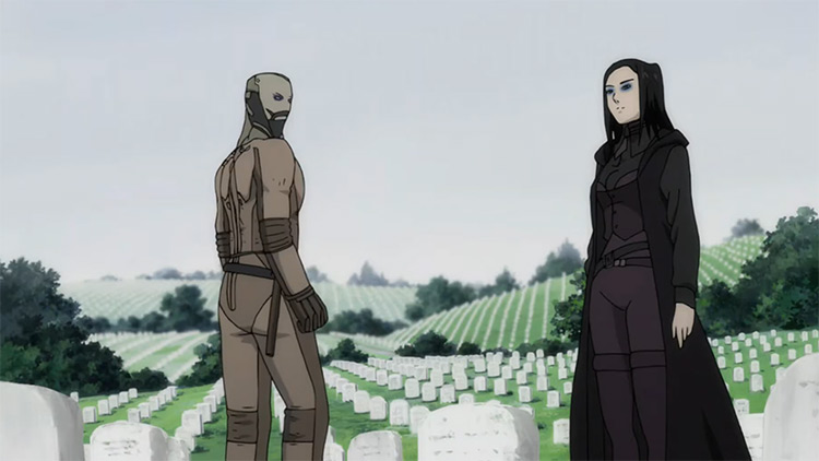 Characters in cemetery - Ergo Proxy Anime