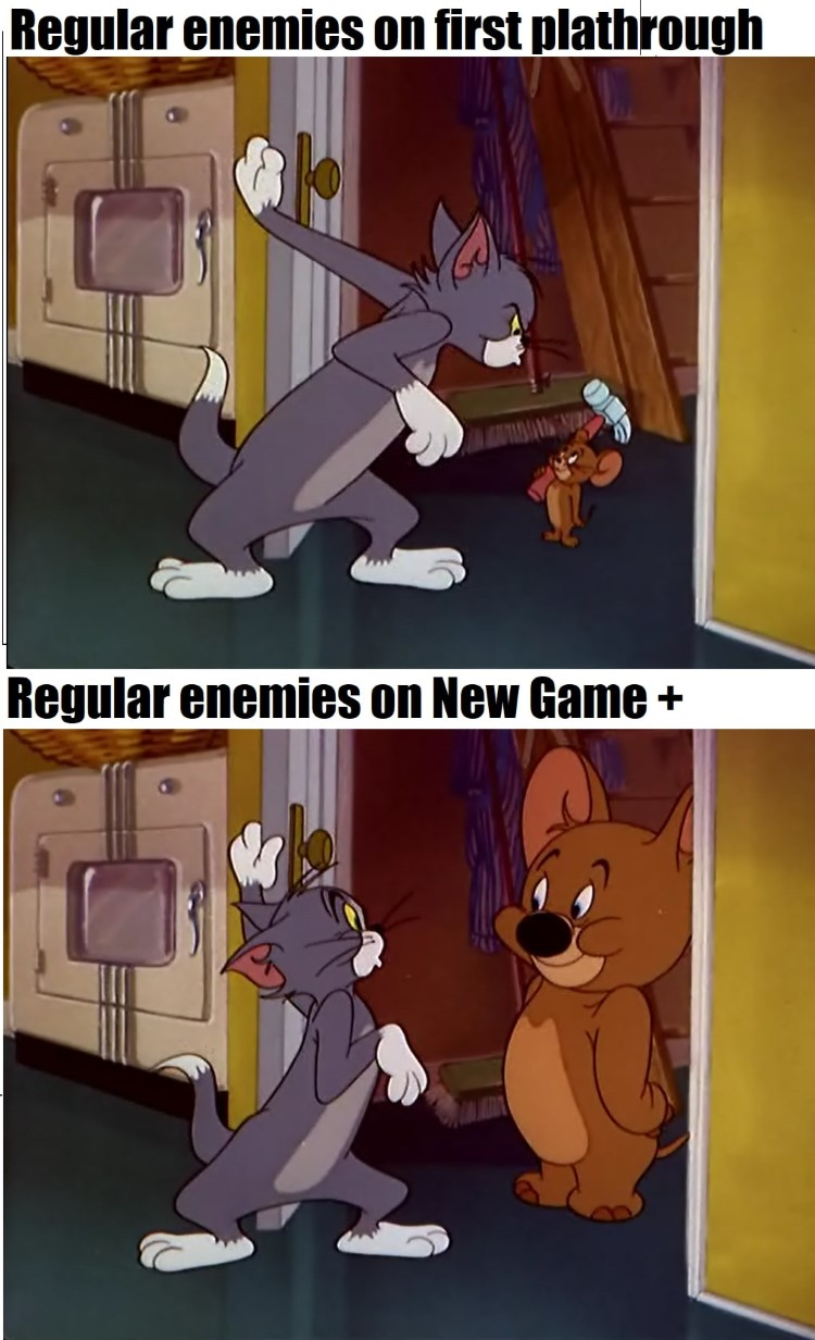 Enemies in playthrough vs. New Game+ Meme