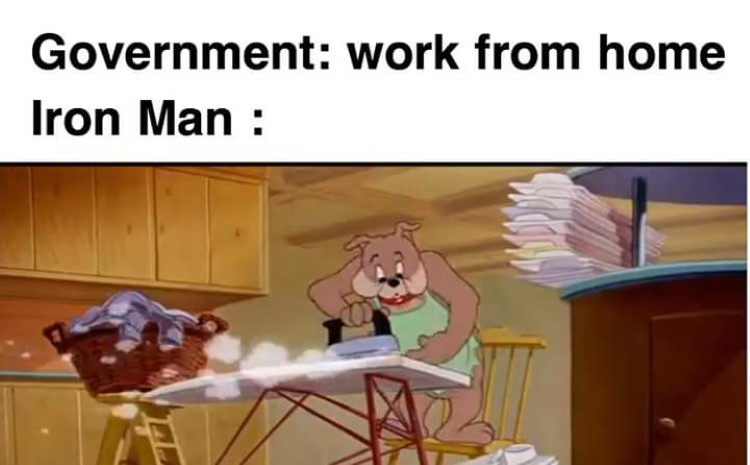 Gov't working from home, Iron Man Spike Dog meme