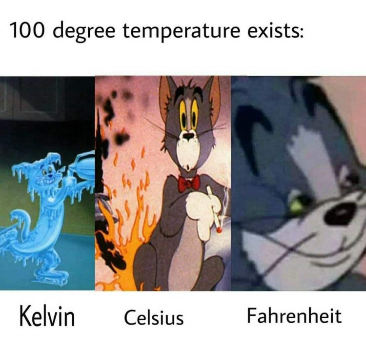 Kelvin, Celsius, Farenheit Tom meme