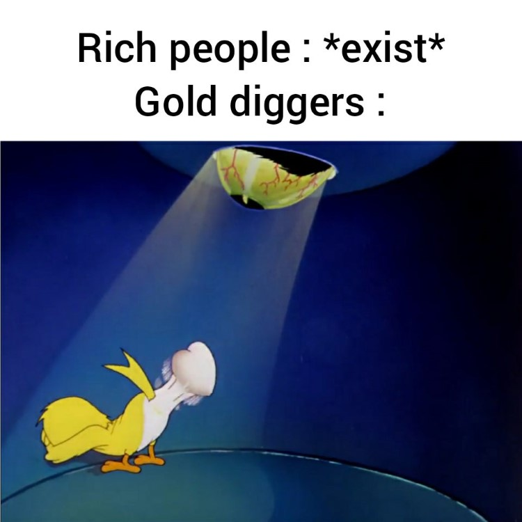 Rich people, gold diggers meme