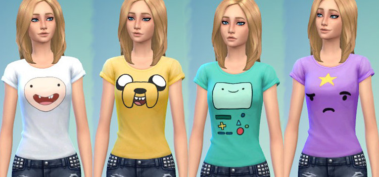 Sims 4 CC - Adventure Time T-shirts for girls