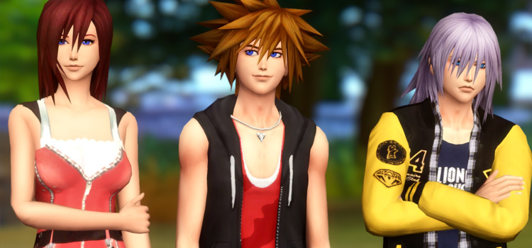 Sora, Kairi and Riku in The Sims 4