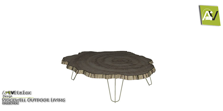 Wood Slab Coffee Table - Rustic CC for The Sims 4