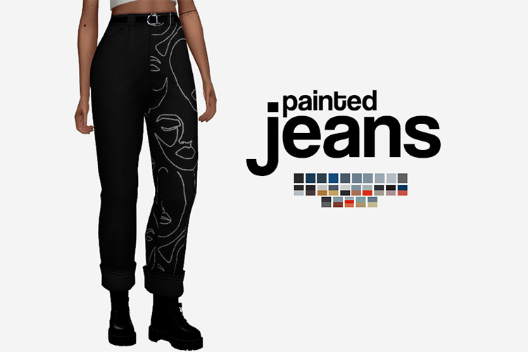 Painted Jeans CC for The Sims 4