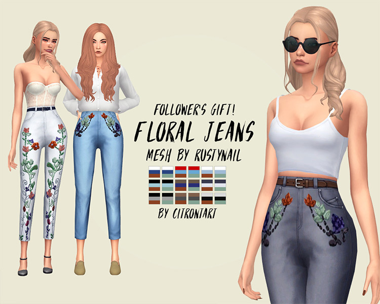 Floral Jeans in The Sims 4