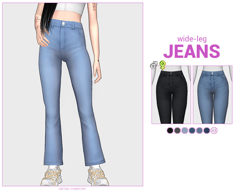 Wide Leg Jeans in The Sims 4