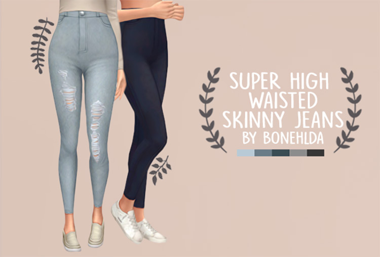 Super High-Waisted Skinny Jeans - TS4 CC