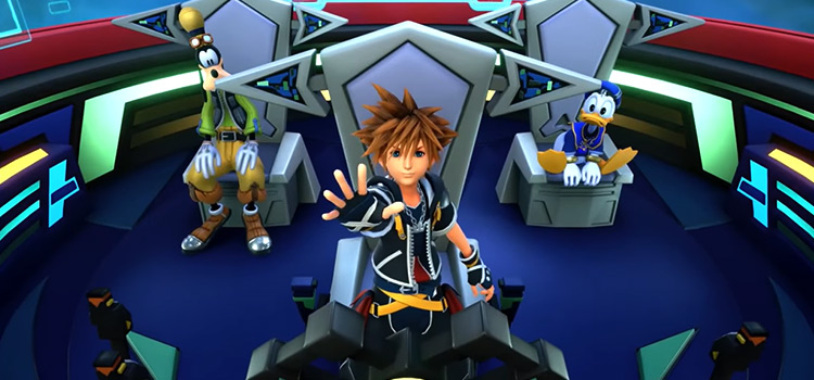 KH3 in gummi ship with Sora, Donald, and Goofy