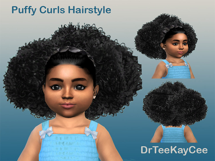 Puffy Curls Afro CC for Toddlers Sims 4