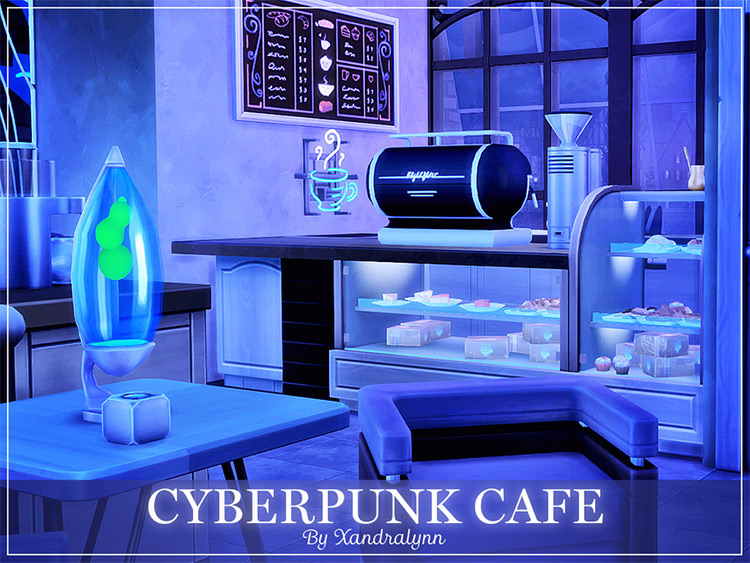 Cyberpunk Café Lot for The Sims 4