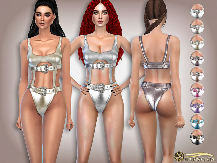 Buckled Belts Mettalic Swimsuit - Sims 4 CC