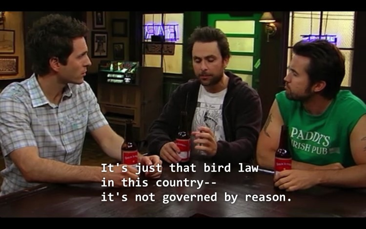 It's just that bird law in this country, it's not governed by reason