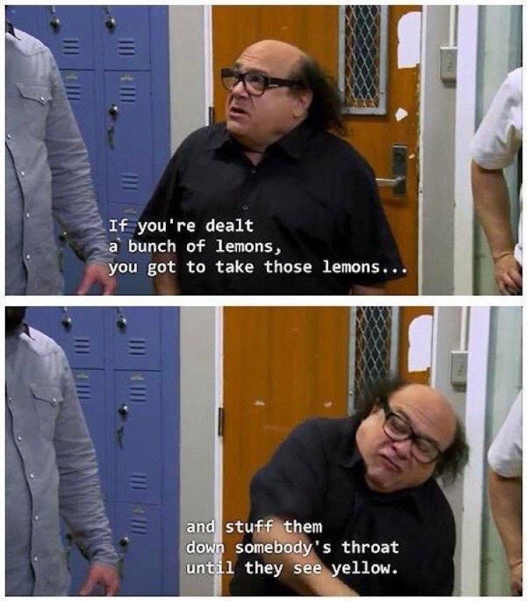 If you're dealt a bunch of lemons, you stuff them down somebody's throat until they see yellow - Frank Reynolds